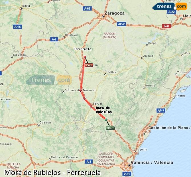 Enlarge map Trains Mora de Rubielos to Ferreruela