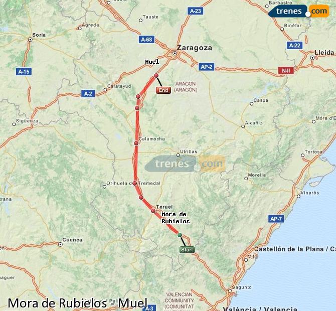 Enlarge map Trains Mora de Rubielos to Muel