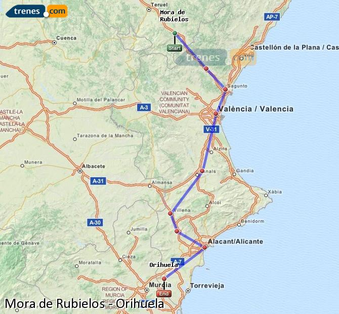 Enlarge map Trains Mora de Rubielos to Orihuela