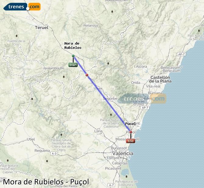Ampliar mapa Comboios Mora de Rubielos Puçol