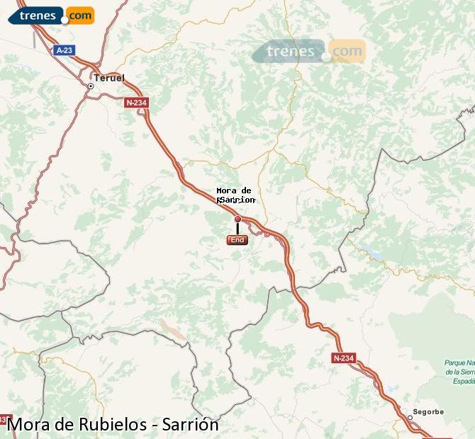 Ampliar mapa Trenes Mora de Rubielos Sarrión