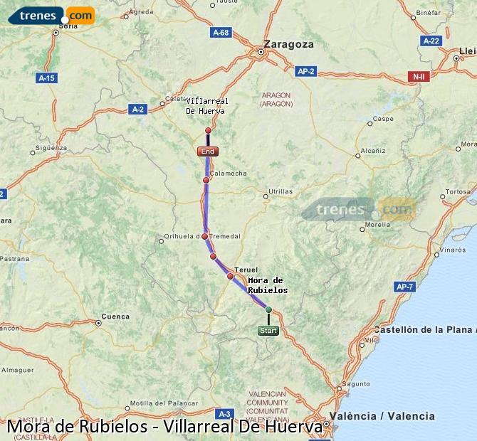 Agrandir la carte Trains Mora de Rubielos Villarreal De Huerva