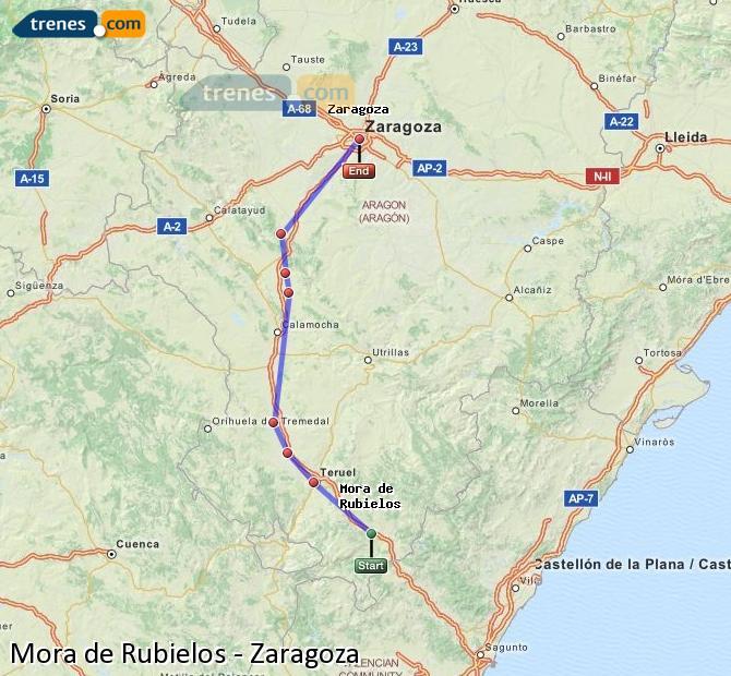 Enlarge map Trains Mora de Rubielos to Zaragoza