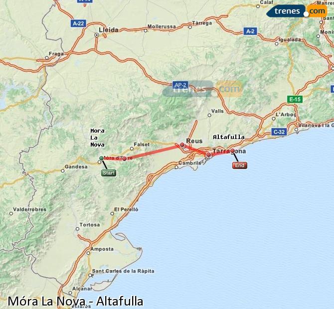 Ingrandisci la mappa Treni Móra La Nova Altafulla
