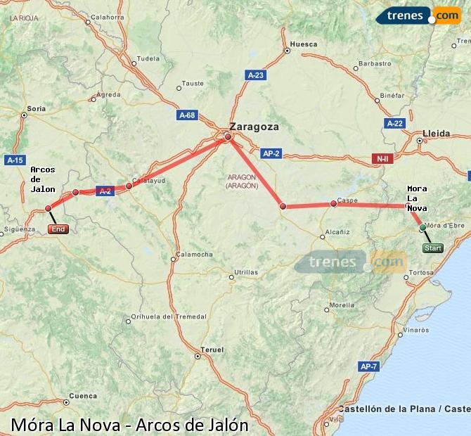 Ampliar mapa Comboios Móra La Nova Arcos de Jalón