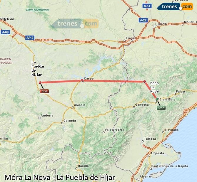 Agrandir la carte Trains Móra La Nova La Puebla de Híjar