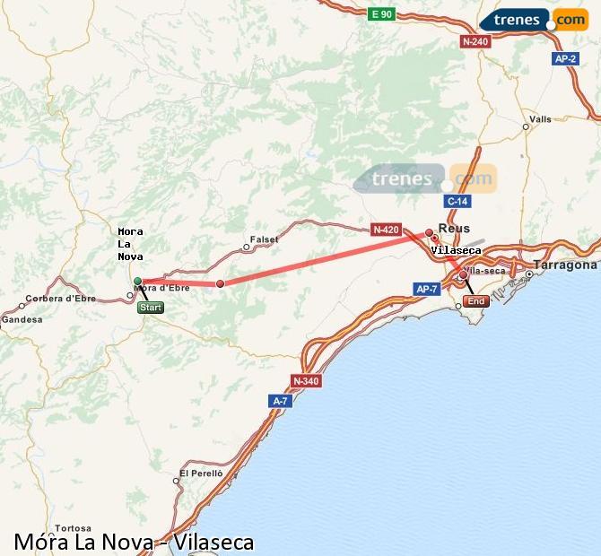 Karte vergrößern Züge Móra La Nova Vilaseca