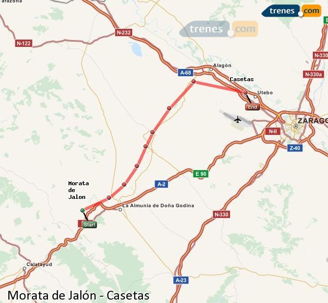 Ampliar mapa Trenes Morata de Jalón Casetas