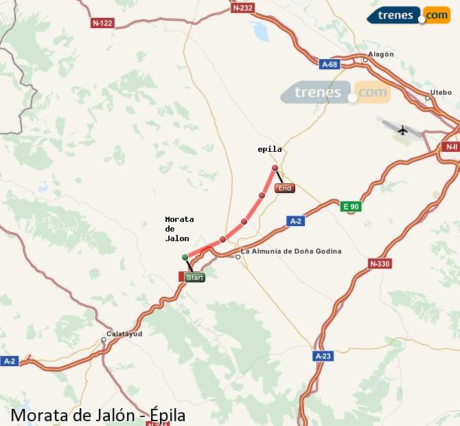 Enlarge map Trains Morata de Jalón to Epila