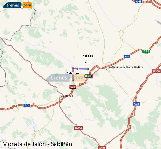 Enlarge map Trains Morata de Jalón to Sabiñán