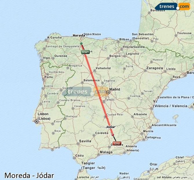 Agrandir la carte Trains Moreda Jódar