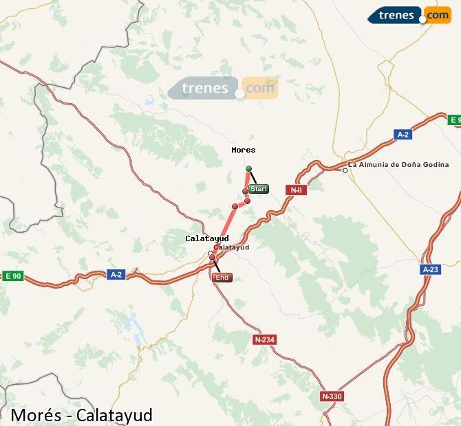 Agrandir la carte Trains Morés Calatayud