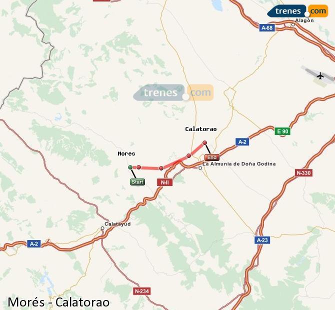 Ingrandisci la mappa Treni Morés Calatorao