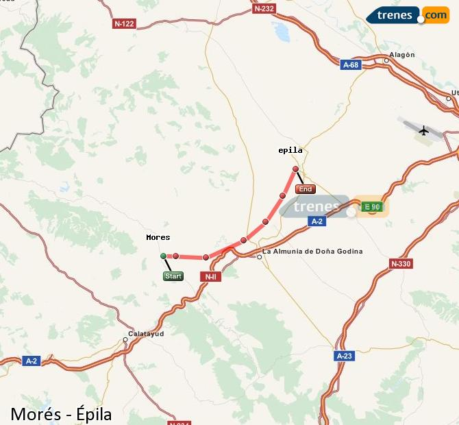 Enlarge map Trains Morés to Epila