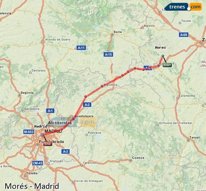 Karte vergrößern Züge Morés Madrid