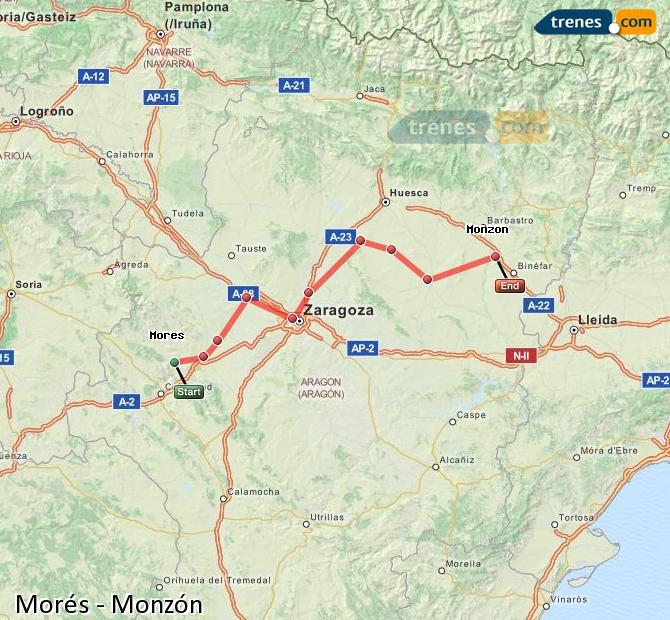 Ingrandisci la mappa Treni Morés Monzón