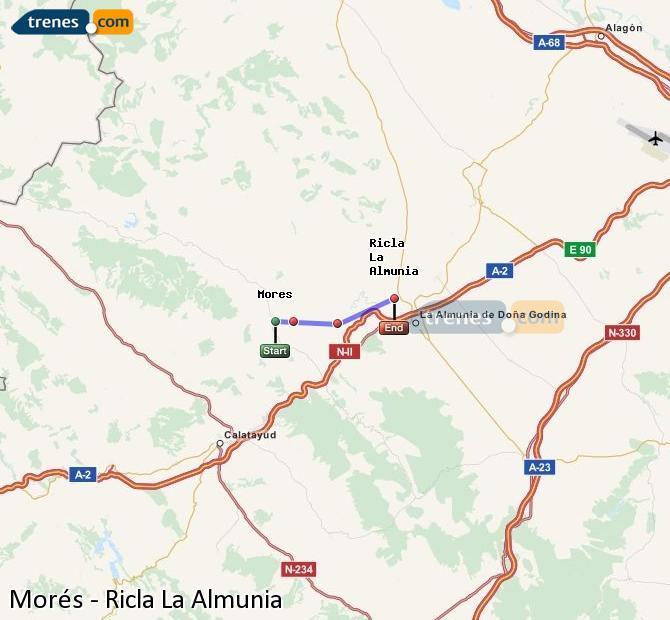 Enlarge map Trains Morés to Ricla La Almunia