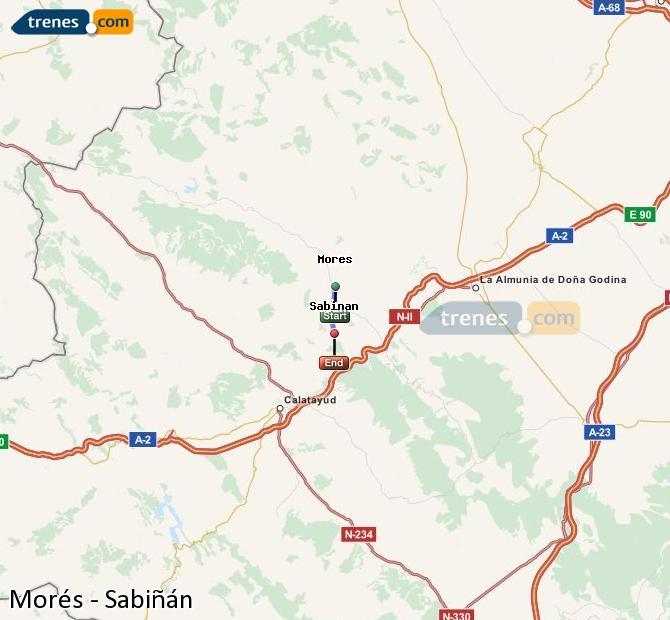 Enlarge map Trains Morés to Sabiñán