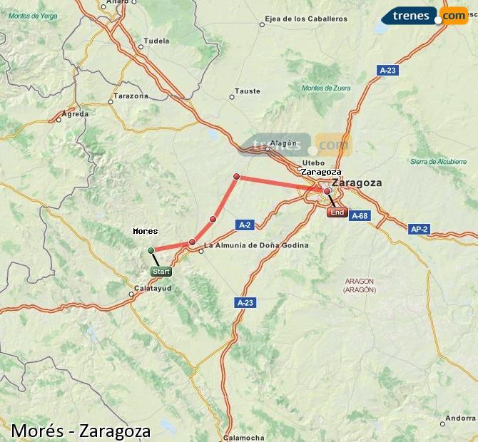 Ingrandisci la mappa Treni Morés Zaragoza