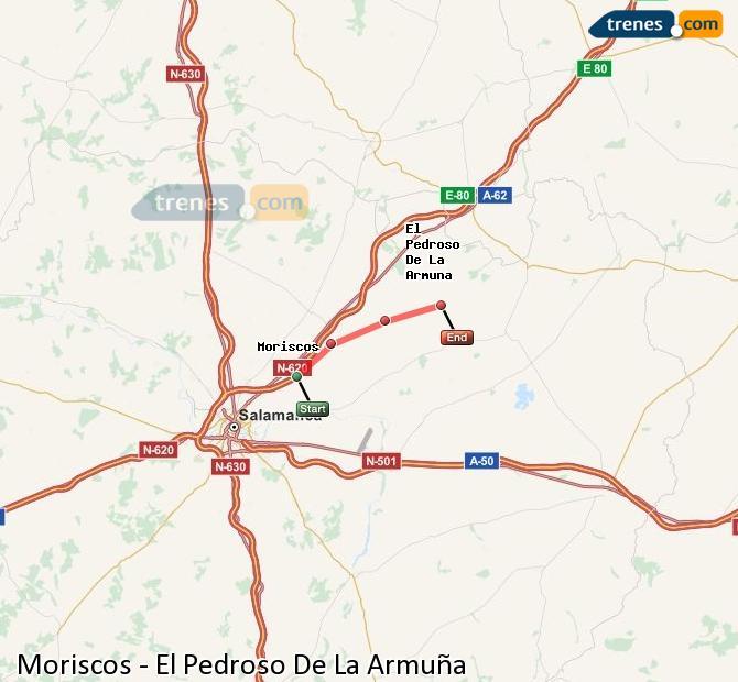 Enlarge map Trains Moriscos to El Pedroso De La Armuña