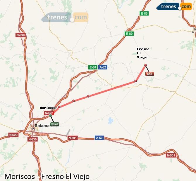 Enlarge map Trains Moriscos to Fresno El Viejo