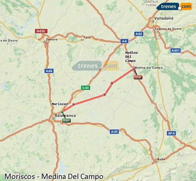 Enlarge map Trains Moriscos to Medina Del Campo