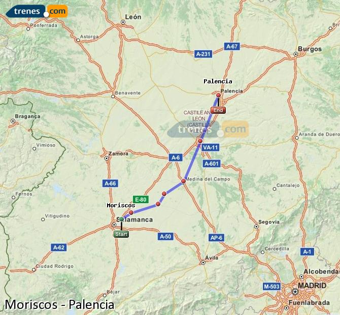 Enlarge map Trains Moriscos to Palencia