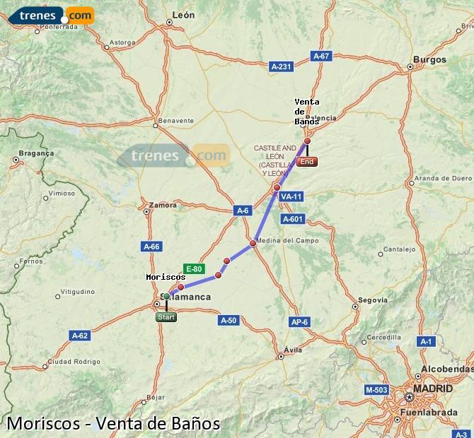 Enlarge map Trains Moriscos to Venta de Baños
