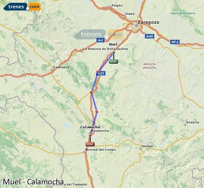 Ampliar mapa Trenes Muel Calamocha