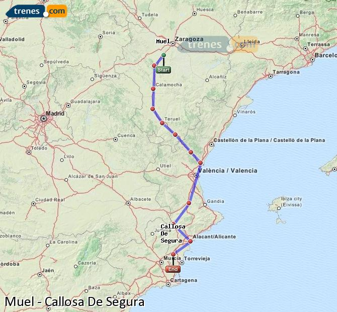Enlarge map Trains Muel to Callosa De Segura