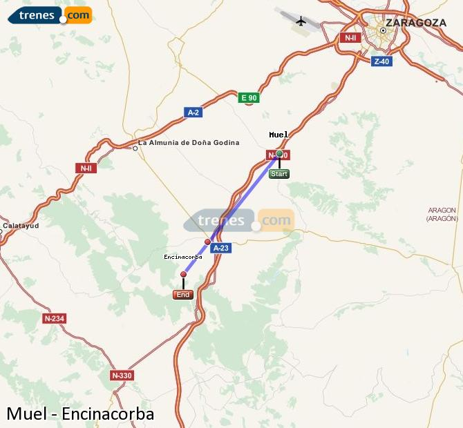 Enlarge map Trains Muel to Encinacorba