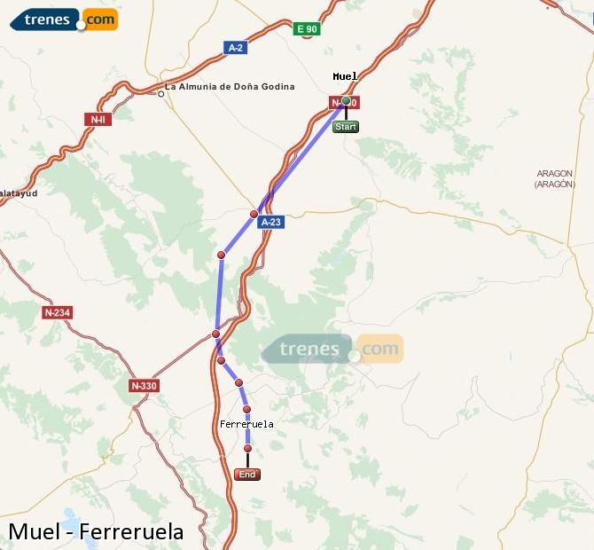 Enlarge map Trains Muel to Ferreruela