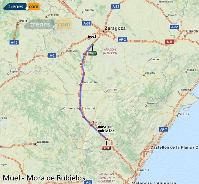Enlarge map Trains Muel to Mora de Rubielos