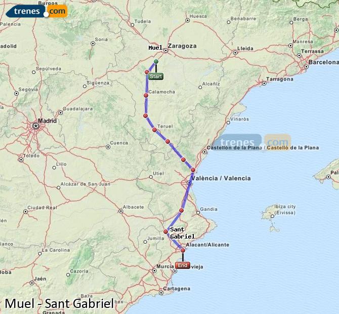 Ampliar mapa Comboios Muel Sant Gabriel