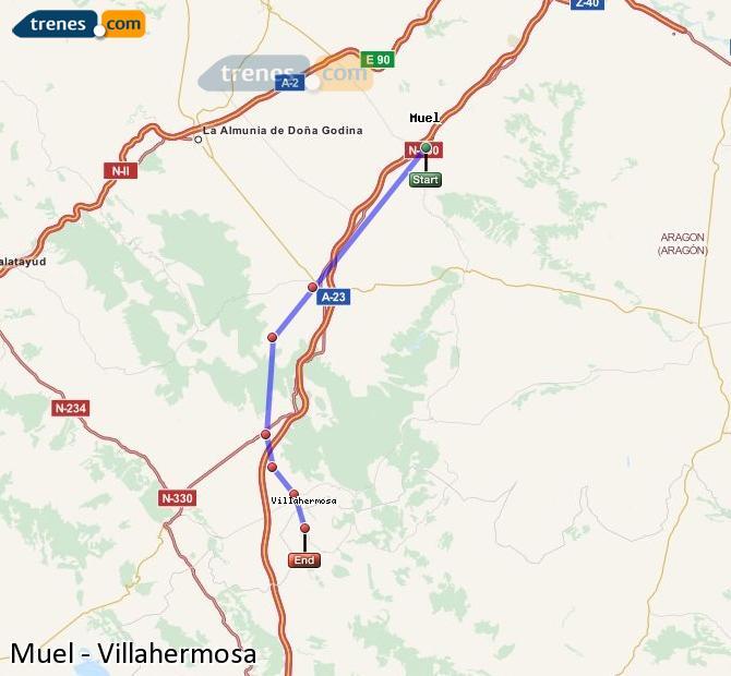Enlarge map Trains Muel to Villahermosa