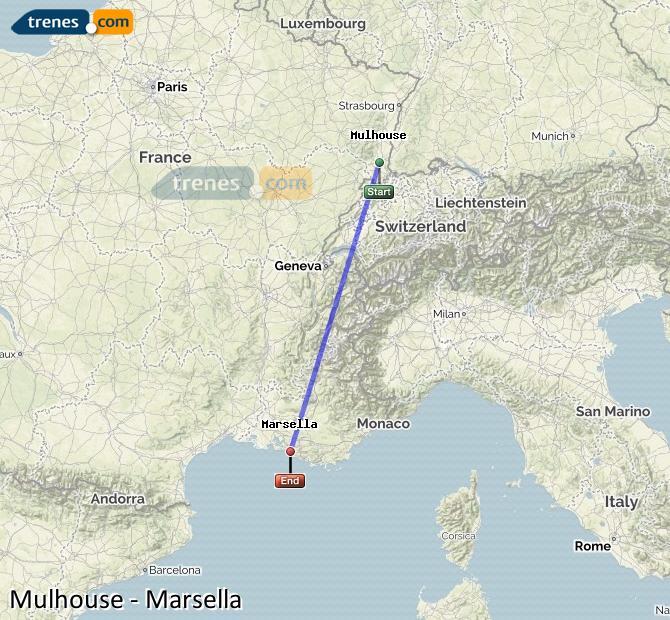 Agrandir la carte Trains Mulhouse Marsella