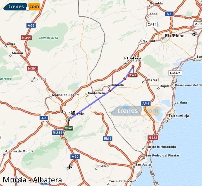 Agrandir la carte Trains Murcia Albatera
