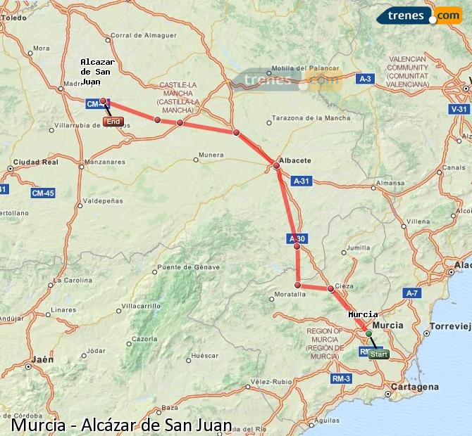 Enlarge map Trains Murcia to Alcazar de San Juan