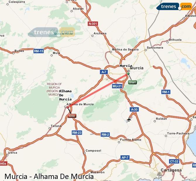 Karte vergrößern Züge Murcia Alhama De Murcia