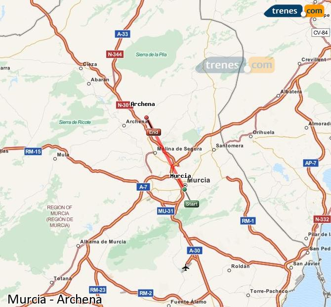 Ingrandisci la mappa Treni Murcia Archena