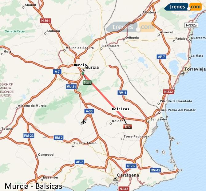 Enlarge map Trains Murcia to Balsicas