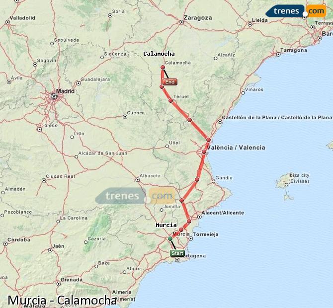 Enlarge map Trains Murcia to Calamocha