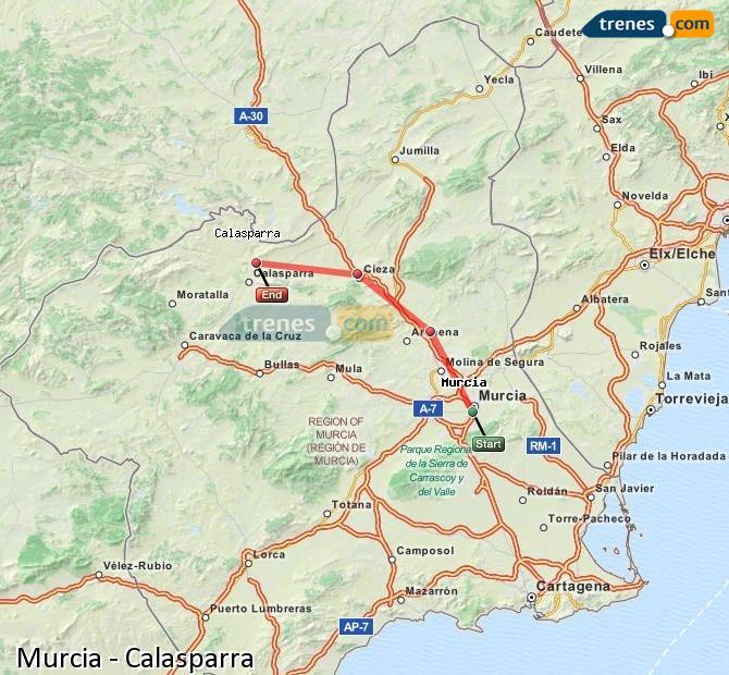 Ingrandisci la mappa Treni Murcia Calasparra