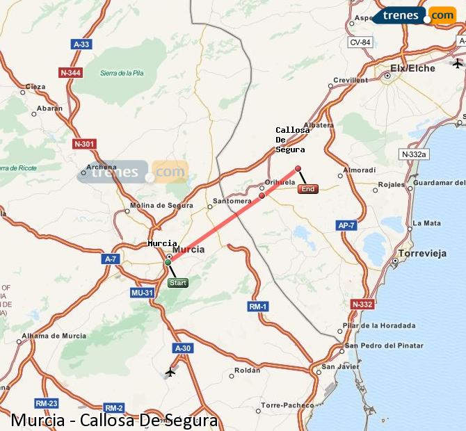 Enlarge map Trains Murcia to Callosa De Segura