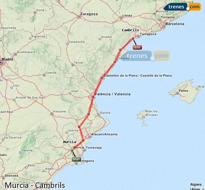 Ingrandisci la mappa Treni Murcia Cambrils
