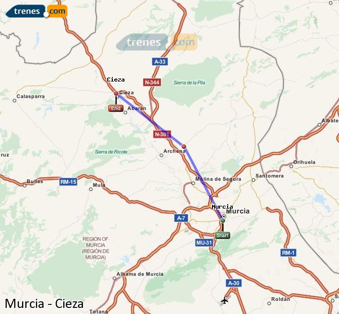 Agrandir la carte Trains Murcia Cieza