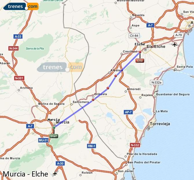Enlarge map Trains Murcia to Elche