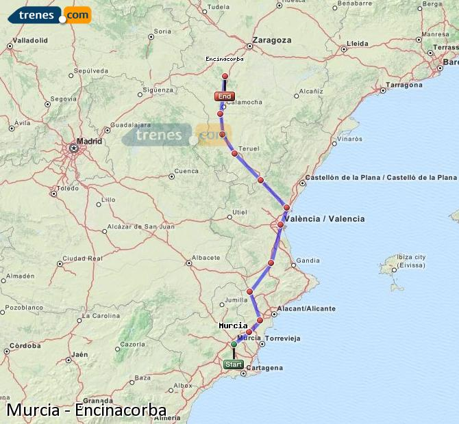 Enlarge map Trains Murcia to Encinacorba