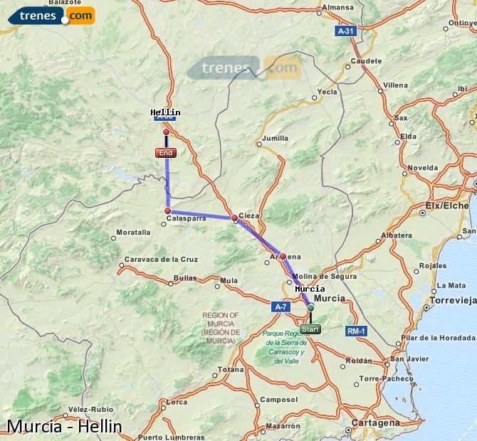 Agrandir la carte Trains Murcia Hellín