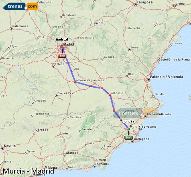 Enlarge map Trains Murcia to Madrid